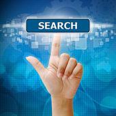 Mano mujer presione el botón de búsqueda de interfaz de pantalla táctil — Foto de Stock