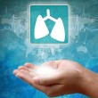 Medical icon Lung in hand — Stock Photo