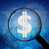 Dollar sign symbol in Magnifying glass — Stock Photo