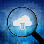 Cloud download in Magnifying glass — Stock Photo