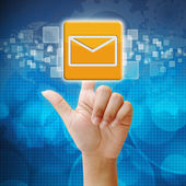 In press email icon on touch screen interface — Stock Photo