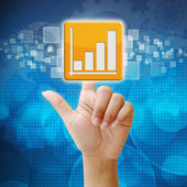 In press Business Graph icon on touch screen interface — Stock Photo