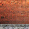 Lamp post street on brick wall background - Stock fotografie