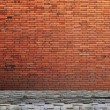 Lamp post street on brick wall background - Foto Stock