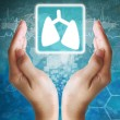 Lung icon in hand ,medical icon — Stock Photo