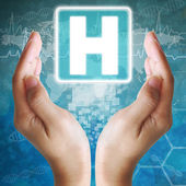Icona di ospedale in mano, sfondo medico — Foto Stock