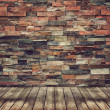 Stock Photo: Empty wood floor and brick wall for Vintage wallpaper