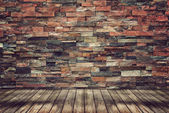 Empty wood floor and brick wall for Vintage wallpaper — Stock Photo