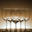 Empty wine glass in Beautiful light background — Stock Photo