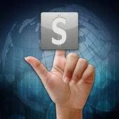 I pressen dollartecken symbolen på globala bakgrund — Stockfoto