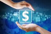 Icono de dólar en la mano, fondo de negocios — Foto de Stock