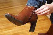 Zipping Boots — Stockfoto