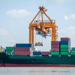 Containers On Industrial Ship — Stock Photo