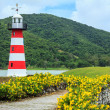 Stock Photo: Lighthouse With Colourful Flowerbeds