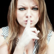 White Woman Doing Shh Sign — Stock Photo