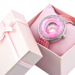 Womens Pink Watch In A Pink Box — Stock Photo