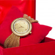 Watch In Velvet Jewelry Gift Box On White Background — Stock Photo