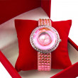 womens pink watch in a box — Stock Photo #31286585