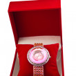 womens pink watch in a box — Stock Photo