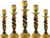 Olive Wood Candlesticks — Stock Photo