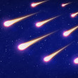 Group of shooting stars on blue sky — Stock Photo