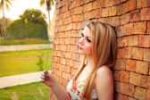 Woman Relaxing In The Park — Stock Photo