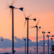 Sunset At Village And Wind Turbines — 图库照片