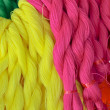 Stock Photo: Pink red yellow nylon rope
