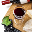 Red wine, grape, Brie and Camembert cheeses — Stock Photo #19516023