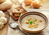 Soup and ingredients — Stock Photo