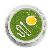 Zupa krem z jajkiem i śmietaną — Zdjęcie stockowe