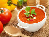 Gazpacho and ingredients — Stock Photo