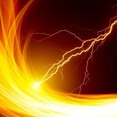 Fire and lightning — Stock Photo