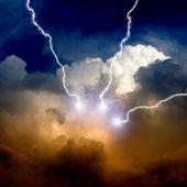 Stormy sky with lightnings — Stock Photo