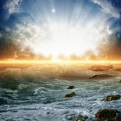 Prachtige zonsopgang op zee — Stockfoto