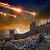 Antigua fortaleza, torre bajo ataque — Foto de Stock