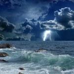Stormy sea, lightnings — Stock Photo #23698591