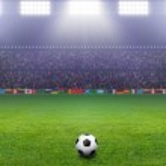 Soccer ball, stadium, light — Stock Photo