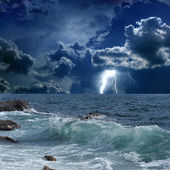 Stormy sea, lightnings — Stock Photo