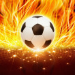 Soccer ball in fire - Stock Photo