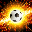 Soccer ball in fire — Foto Stock