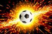 Soccer ball in fire — Stock Photo