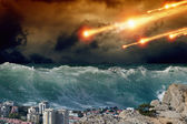 Tsunami, asteriod impact — Stock Photo