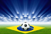 Soccer ball, stadium, spotlights — Stock Photo