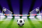 Fotboll, fält, ljus — Stockfoto