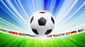 Soccer ball, flags — Stock Photo