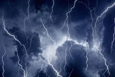 Lightnings in stormy sky — Stock Photo