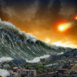 Stock Photo: Tsunami waves, asteroid impact