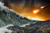 Tsunami waves, asteroid impact — Stock Photo
