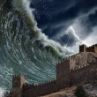 Stock Photo: Giant tsunami waves crashing old fortress